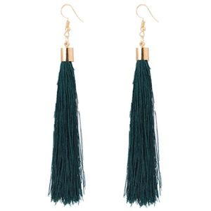 Long Green Tassel Earrings with Gold Hardware